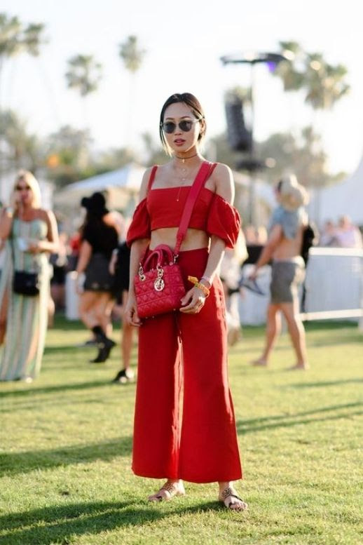Le Fashion Blog Aimee Song Matchy Matchy Red Off Shoulder Crop Top Red Wide Leg Trousers Red Dior Bag Flat Sandals Via Harpers Bazaar
