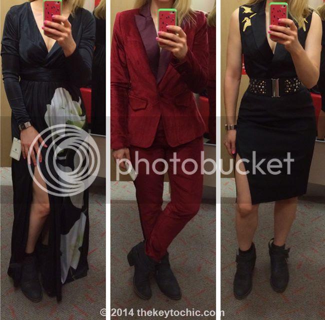 Altuzarra for Target orchid maxi dress, red velvet blazer, and crane dress
