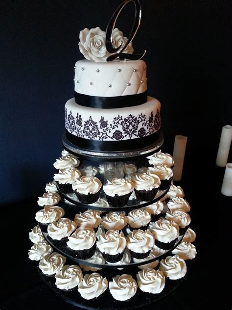Black & white wedding cupcake tower by American Cupcake