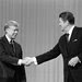 President Jimmy Carter, left, and his Republican rival, Ronald Reagan, after their debate in Cleveland in October 1980.