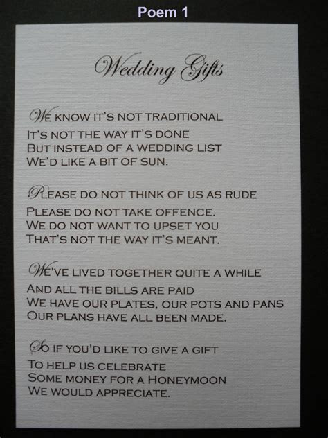 Wedding Poems For Gifts