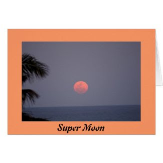 Super Moon over Ocean Card