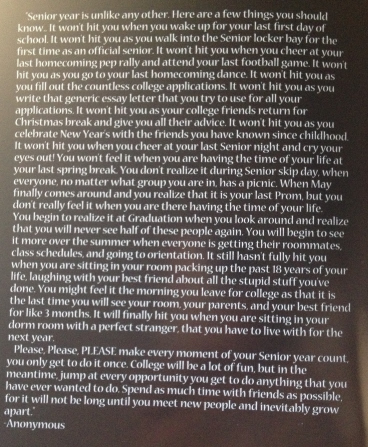 Quotes About Senior Year 98 Quotes