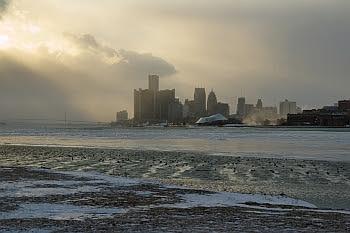 Detroit von Belle Isle, bei 0 Grad Fahrenheit © Cornelia Schaible
