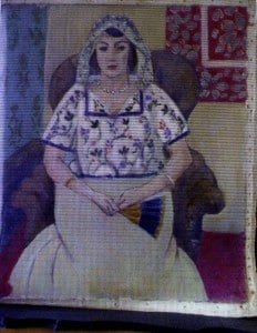 A reproduction of a painting by French painter Henri Matisse titled Seated Woman.