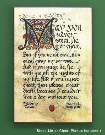 celtic wedding ideas   Steal, Lie or Cheat Plaque   Celtic