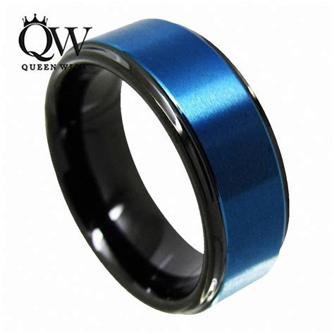 2017 Queenwish Promise Ring 8mm Black & Blue Tungsten Ring
