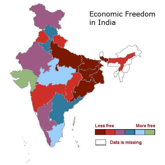 A Map Of Economic Freedom In India Cato Liberty