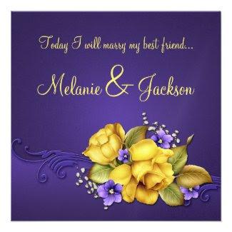 Yellow Roses Purple Pansies Post Wedding Custom Invites