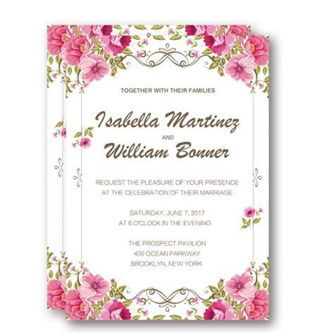 Blush pink floral wedding invitations cheap, spring summer