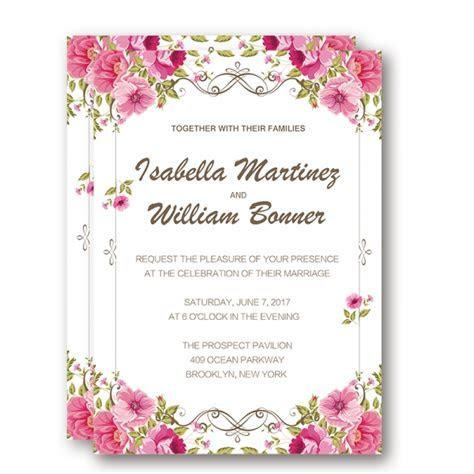 Blush pink floral wedding invitations cheap, spring summer