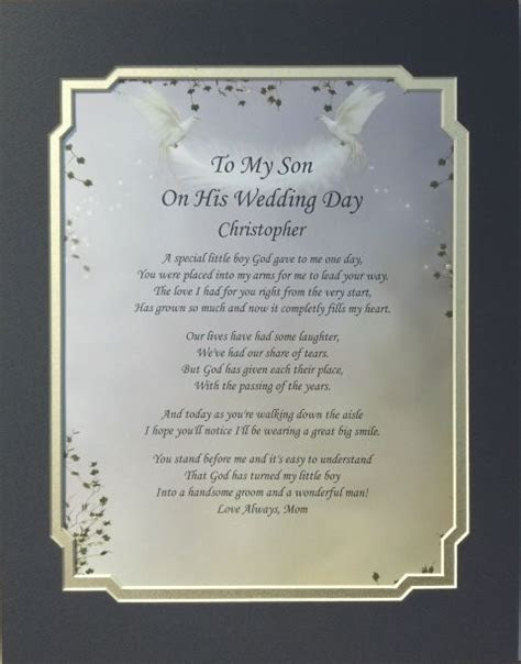 Details about TO MY SON ON HIS WEDDING DAY POEM