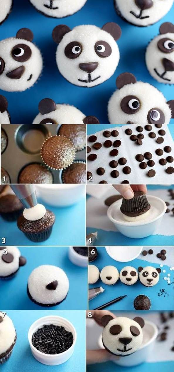 Cupcakes with Panda Topping | iCreativeIdeas.com Like Us on Facebook ==> https://www.facebook.com/icreativeideas
