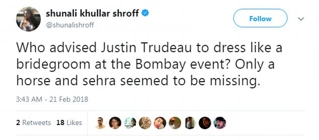 Bombay-based writer Shunali Khullar Shroff echoed the sentiments of many ordinary Indians when she suggested Trudeau looked dressed for a wedding