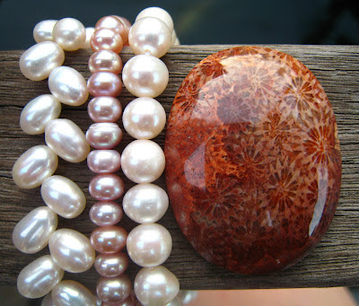 coral agate and pearl