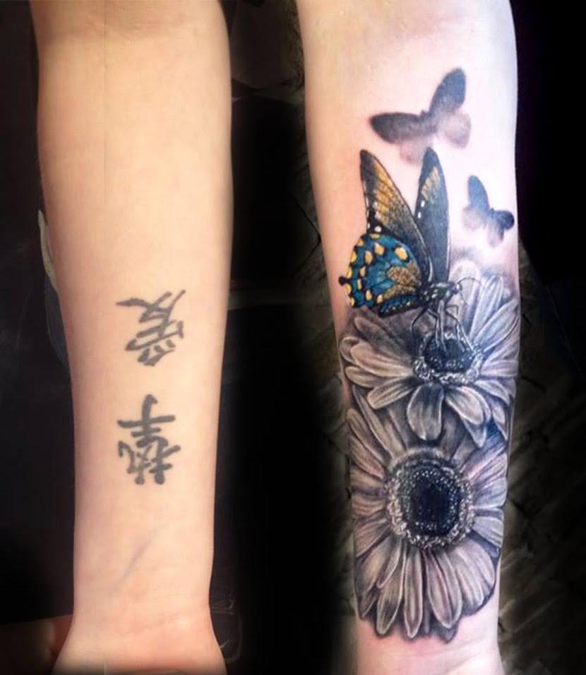 Flowers Butterflies Cover Up Best Tattoo Design Ideas