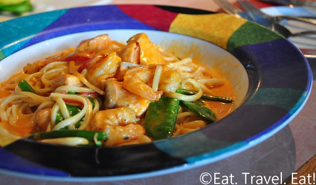 Sesame Grill: Salmon and Shrimp Linguini in Red Pepper Cream Sauce 2