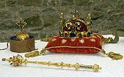Las joyas de coronación comprenden la corona de San Venceslao, un cetro y una esfera, foto: CTK