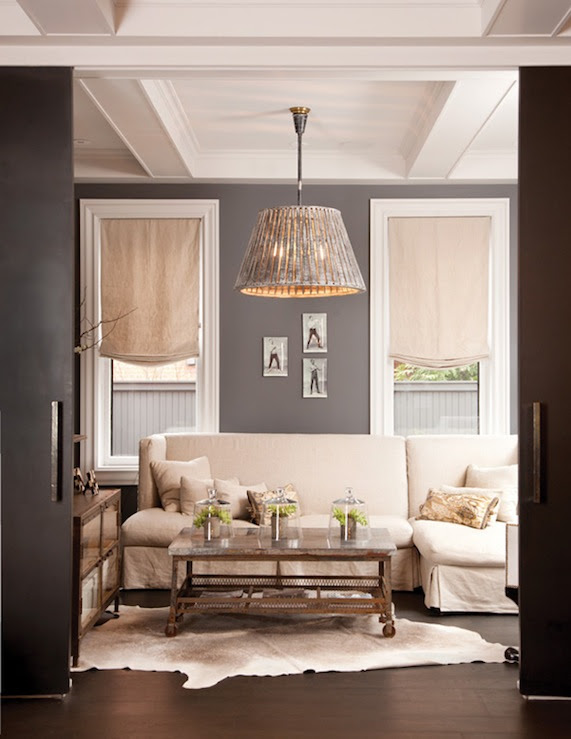 Suzie: Capital Style - Beautiful living room design with gray walls paint color, mushroom linen ...