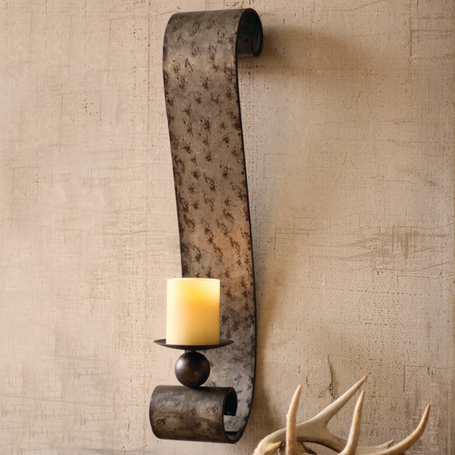 Galvanized Metal Scrolled Wall Sconce - eclectic - candles and ...