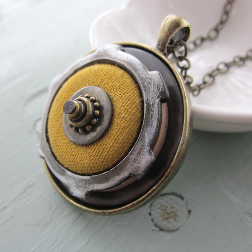 Yellow Linen Button Necklace