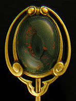 Hans Brassler scarab and bloodstone stickpin. (J9127)