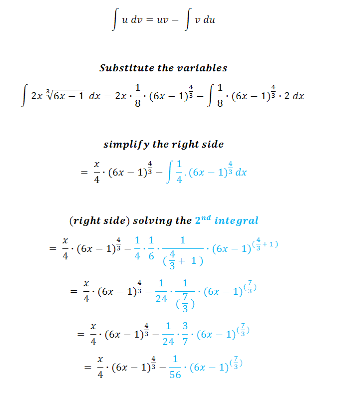 integral by parts variables substitution