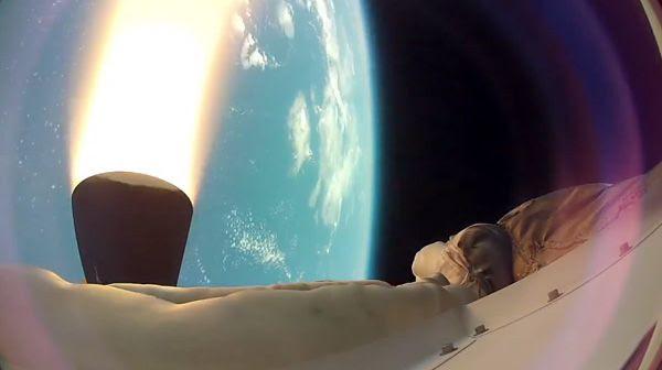 A high-def camera shot of NASA's LDSD rocketing high above Hawaii...on June 28, 2014.
