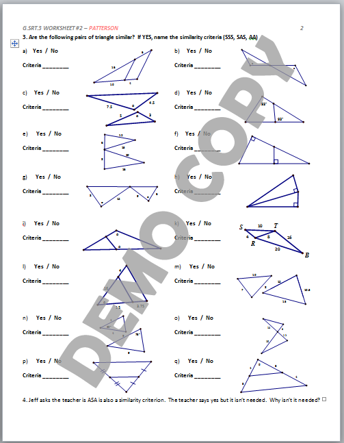 Triangle Congruence Worksheet 2 Answers  congruent triangles practice and proofs geometry math