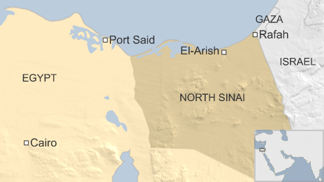 Mapa do norte do Sinai