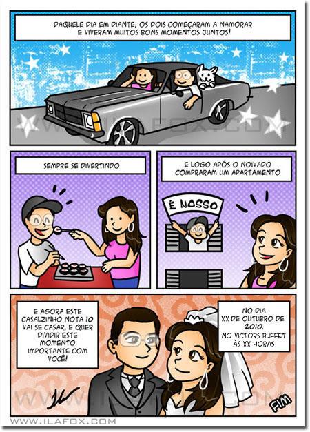 convite em história em quadrinhos personalizados para casamento by ila fox