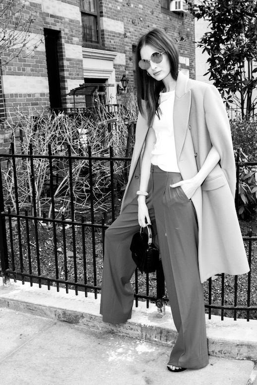 Le Fashion Blog Model Style Laura Love Round Sunglasses Cape Coat White Tee Wide Leg Pants Via The Coveteur