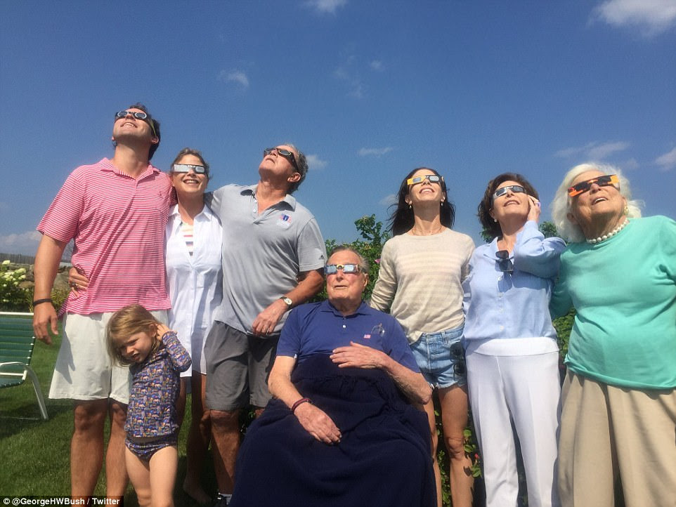 Dynasty: 'Four generations of family taking in the partial eclipse today. Already looking forward to the next one in Texas in 2024!' wrote President George W Bush on Twitter (l ro r: Henry, Mila and Jenna Bush Hager, President George W. Bush, President George W. Bush, Barbara, Laura and Barbara Bush)