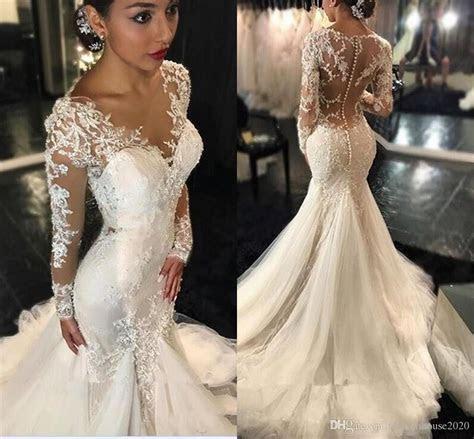2018 Lace Mermaid Wedding Dresses Dubai African Arabic