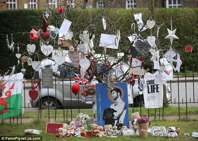Respects: The area is close to George Michael's home has become a source of pilgrimage for grieving fans in the weeks following his death