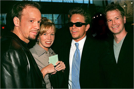 The star caught up with his siblings at the 'Southie' premiere at the Kendall Square Cinema on May 27, 1999. From right: Bob Wahlberg, Mark Wahlberg, Tracy Wahlberg, and Donnie Wahlberg.