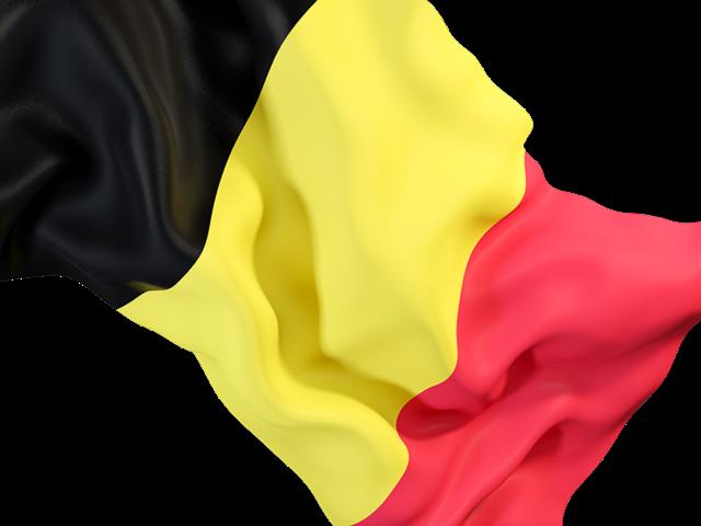 Waving flag closeup. Illustration of flag of Belgium