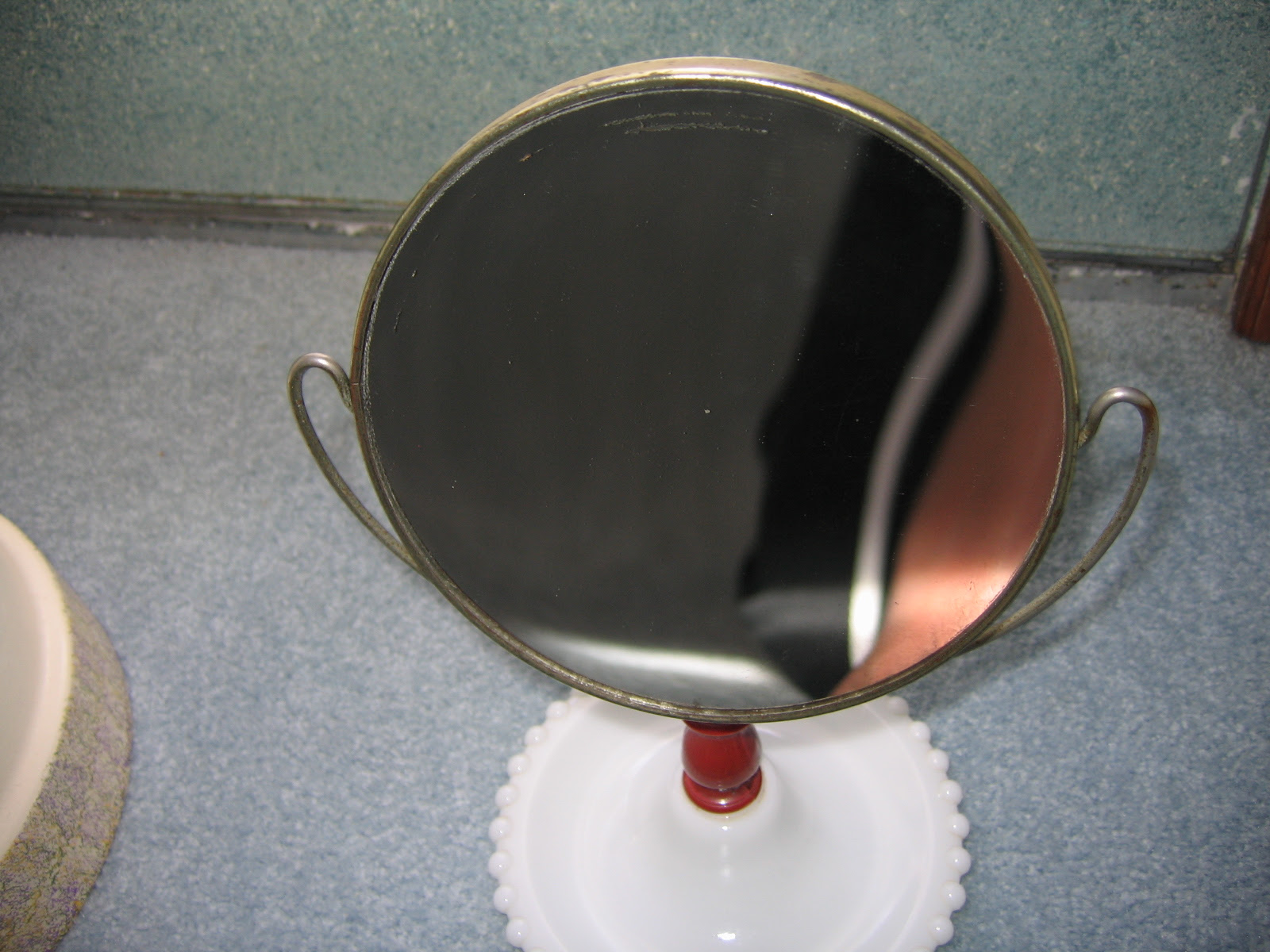 Vintage Ladies Milk Glass Base Two Sided Vanity Mirror Stand Item