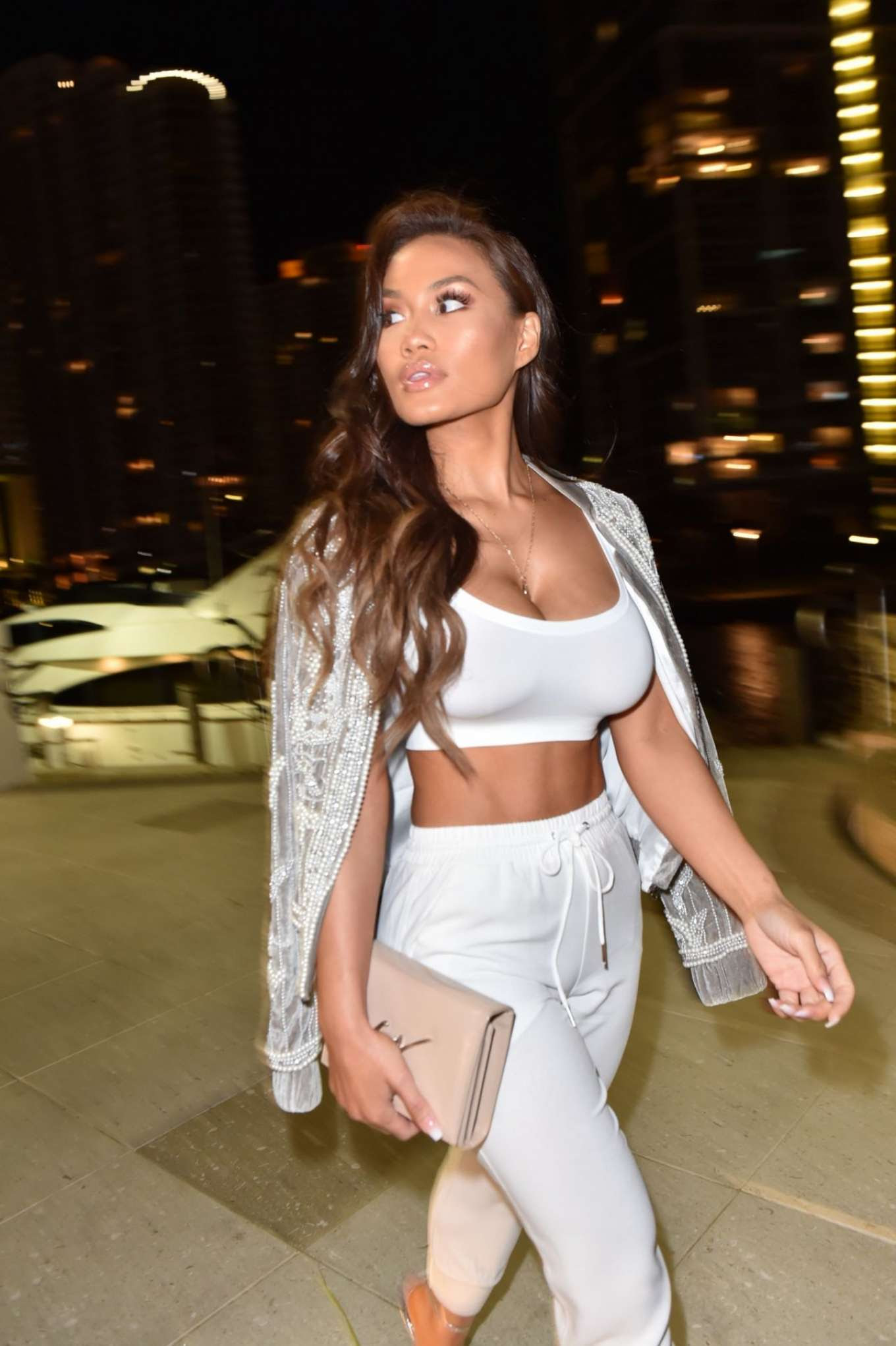 Daphne Joy in White – Out for Dinner in Miami
