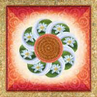 100 Good Fortune - White Lotuses Mandala