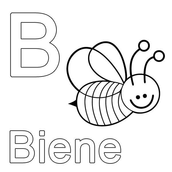 Kostenlose Malvorlage Buchstaben lernen: B wie Biene zum Ausmalen