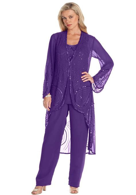 Plus Size 3 Piece Beaded Pantset   PANT SUITS   Wedding