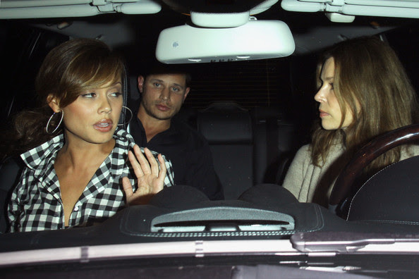 Nick Lachey Nick Lachey and Vanessa Minnillo leave Red O restaurant after dining with Nick's ex-wife Jessica Simpson and Jessica's boyfriend Eric Johnson.