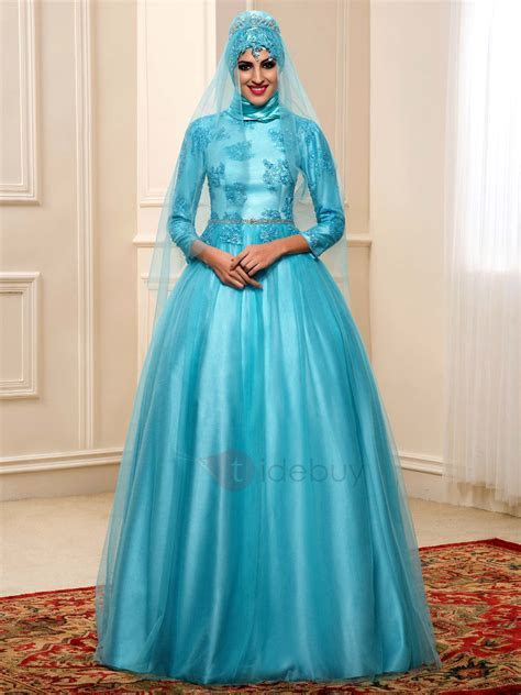 Lace Appliques High Neck Indian Muslim Wedding Dress with