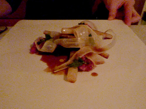 Braised cheek of beef with steak tartar infused with oysters served with salsify, sauce of oxtail