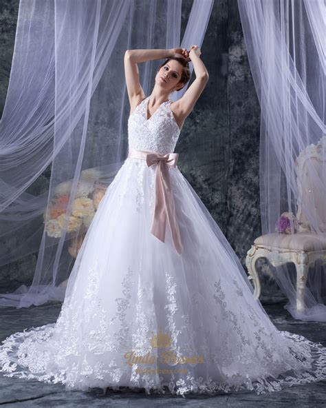 White Lace A Line Halter Chapel Train Wedding Dress With