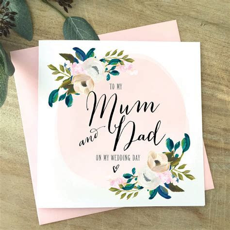 floral to my parents on my wedding day card by sweet pea