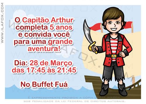Convite personalizado, convite original, convite infantil, convite pirata, by ila fox