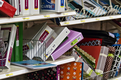 Target back to school shopping shelves