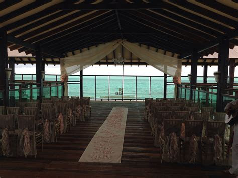 Ceremony setup at pier off of the Market restaurant at